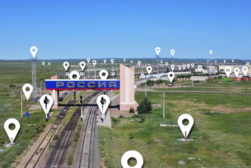 Russland Landschaft mit Schienen und Basisstationen
