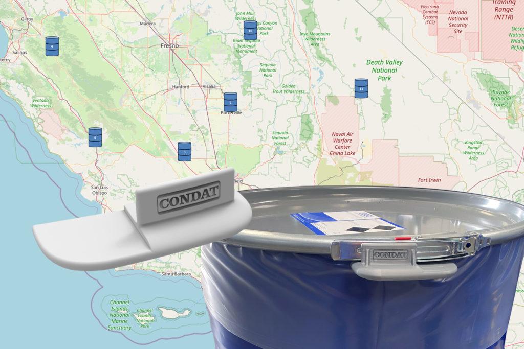 Karte zur Lokalisierung. Im Vordergrund Condat Gebinde mit Verschluss-Sensor