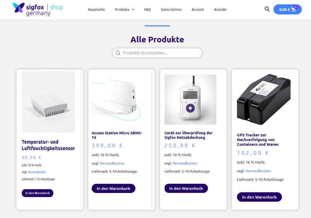 Screenshot des Sigfox Germany Webshops mit IoT Produkten
