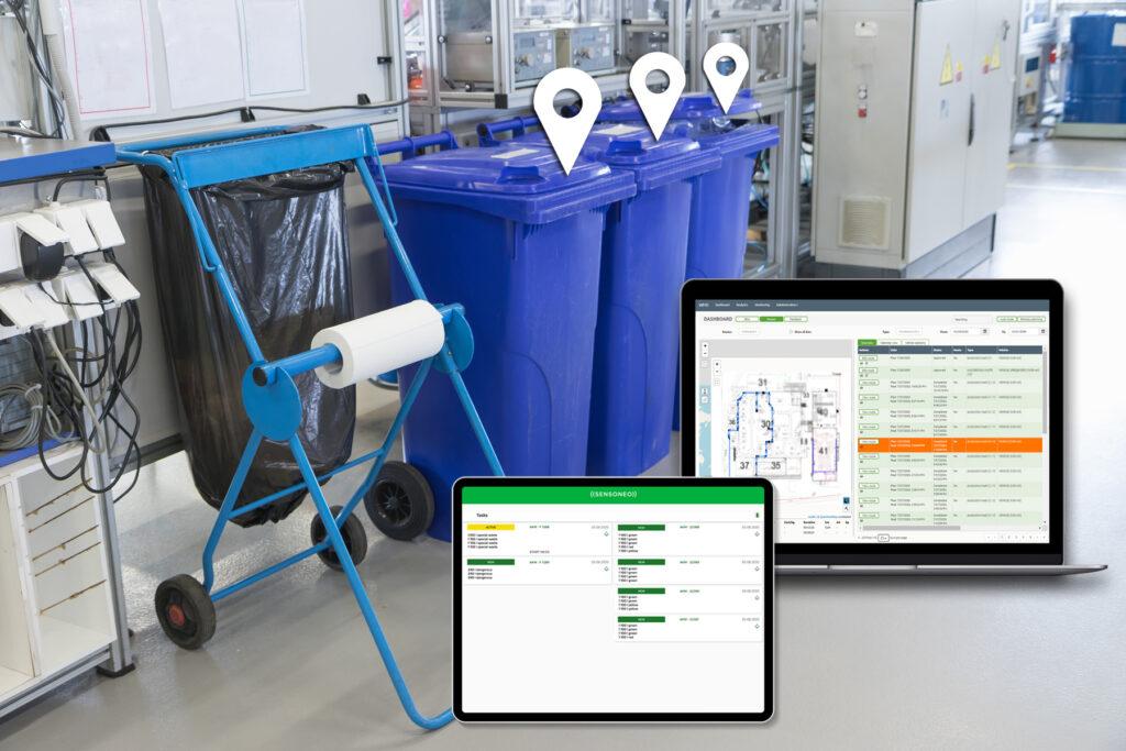 digitalisierte Abfallbehälter für füllstandabhängiges Routenmanagement
