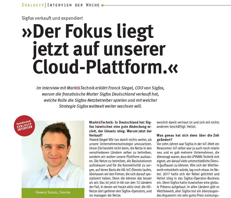 Markt&Technik Interview mit Franck Siegel, COO von Sigfox, Screenshot