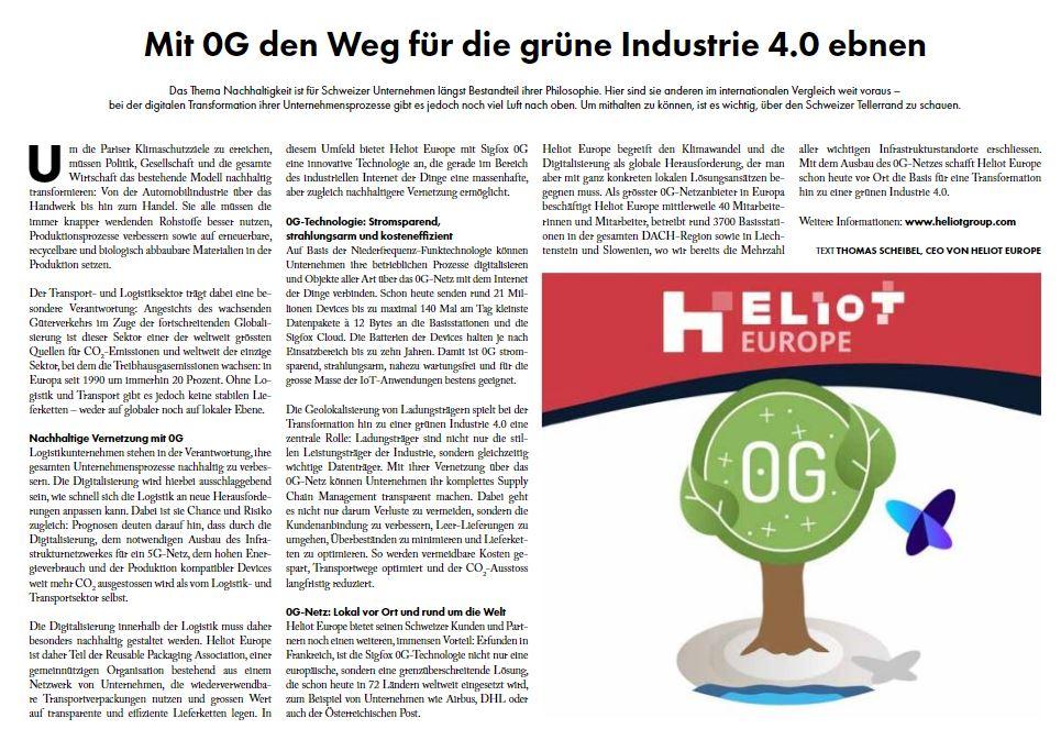 Beilage aus dem schweizerischen Tages-Anzeiger, Artikel über HELIOT Europe, Screenshot
