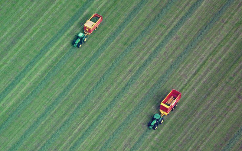 Tractor cutting grass in field.